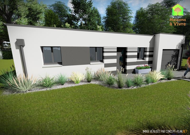 choisissez le mod le de maison neuve toit plat amarante de la gamme contemporain maisons vivre. Black Bedroom Furniture Sets. Home Design Ideas
