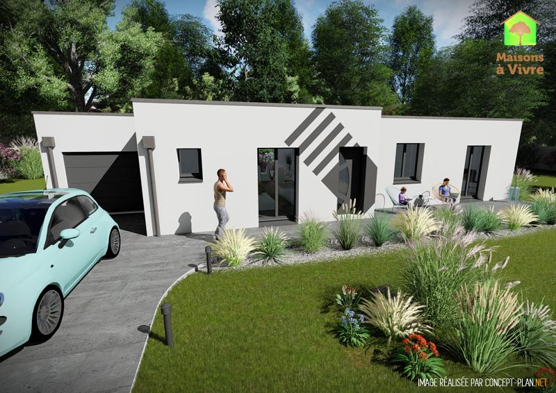 choisissez le mod le de maison neuve toit plat glycine de la gamme contemporain maisons vivre. Black Bedroom Furniture Sets. Home Design Ideas