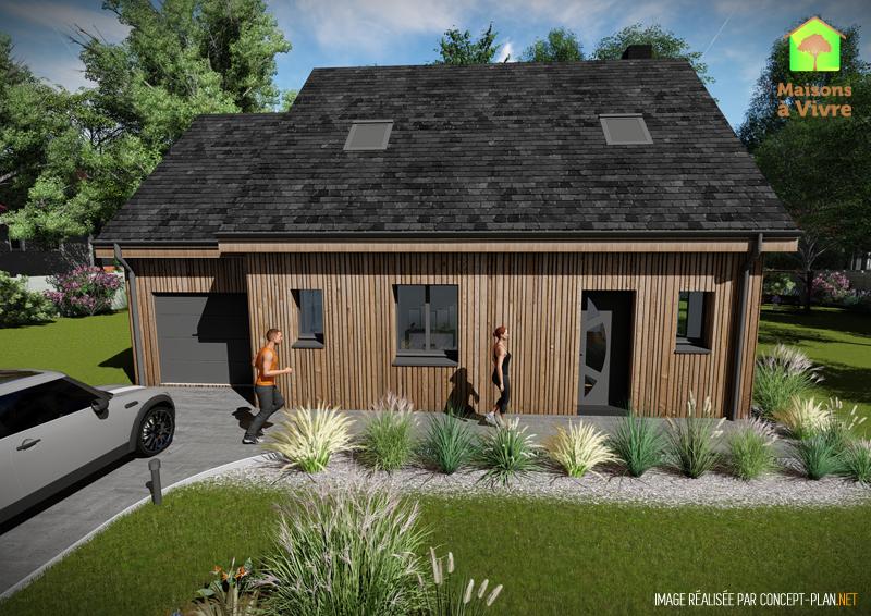 choisissez le mod le de constuction ossature bois charme de la gamme bois maisons vivre. Black Bedroom Furniture Sets. Home Design Ideas