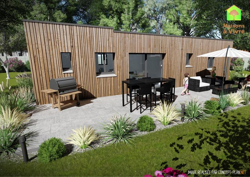 Vue-extérieure-arrière-maison-neuve-ossature-bois-toit-plat-modèle-Amarante-Maisons-à-Vivre