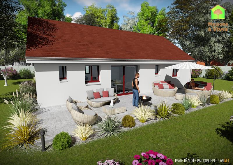 Modèle-de-maison-neuve-actuelle-Amarante-Actuel-toit-rouge-vue-extérieure-de-dos-Maisons-à-Vivre