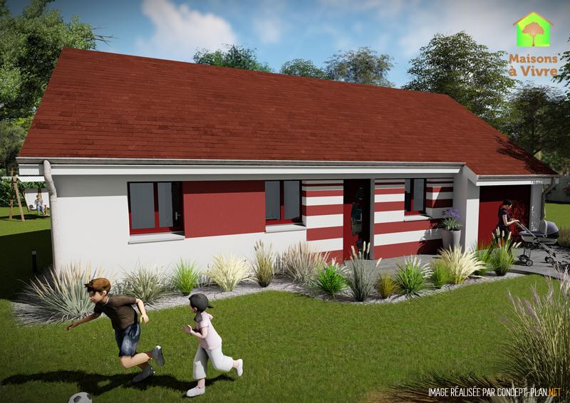 Modèle-de-maison-neuve-actuelle-Amarante-Actuel-toit-rouge-vue-extérieure-de-face-Maisons-à-Vivre