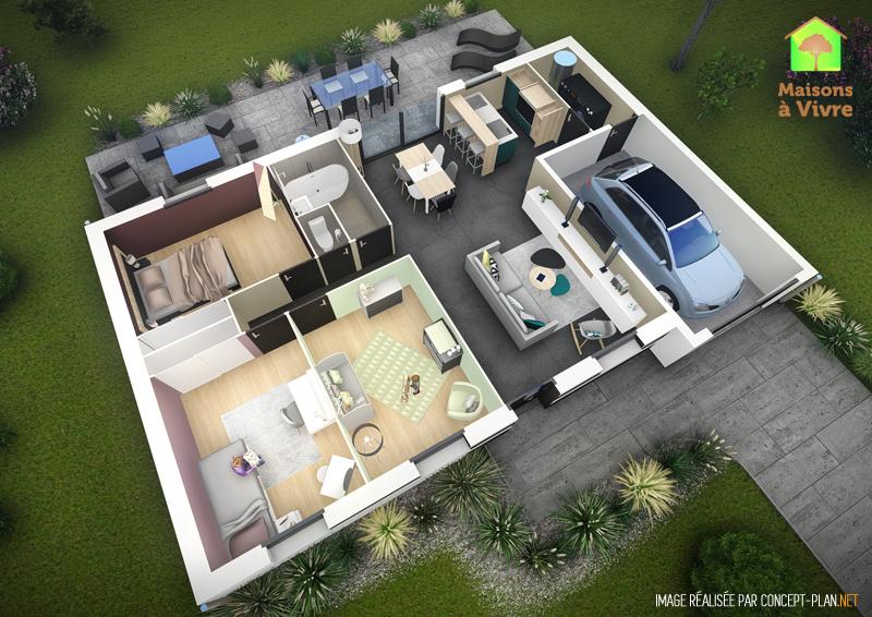 Exemple-d-aménagement-intérieur-maison-neuve-ossature-bois-toit-plat-modèle-Amarante-Maisons-à-Vivre