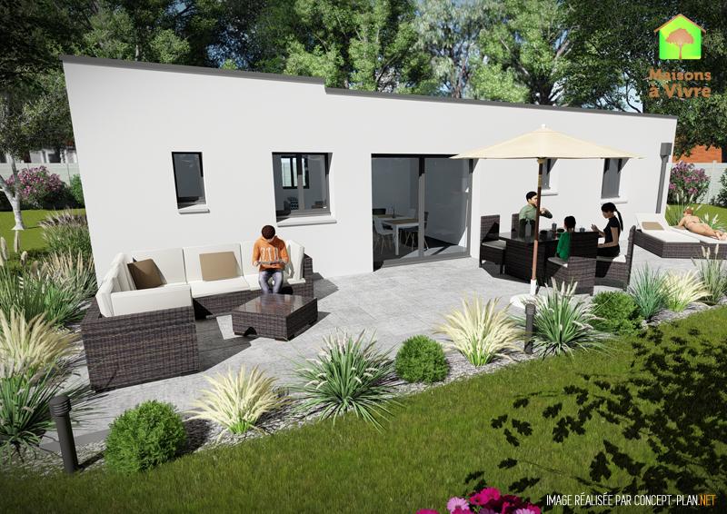 Vue-extérieure-arrière-maison-neuve-toit-plat-modèle-Amarante-Contemporain-Maisons-à-Vivre