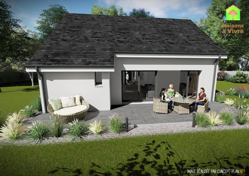 Modèle-de-maison-neuve-Aulne-Actuel-toit-gris-vue-extérieure-arrière-Maisons-à-Vivre
