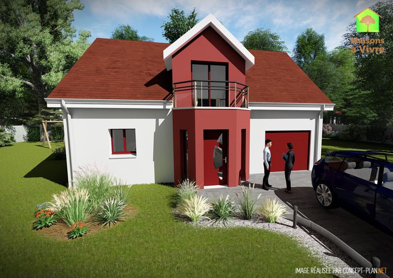 Modèle-de-maison-neuve-Aulne-Actuel-toit-rouge-vue-extérieure-de-face-Maisons-à-Vivre