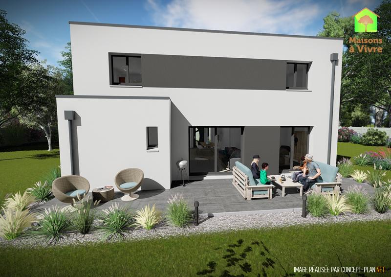 Modèle-de-maison-neuve-toit-plat-Aulne-Contemporain-vue-extérieure-arrière-Maisons-à-Vivre