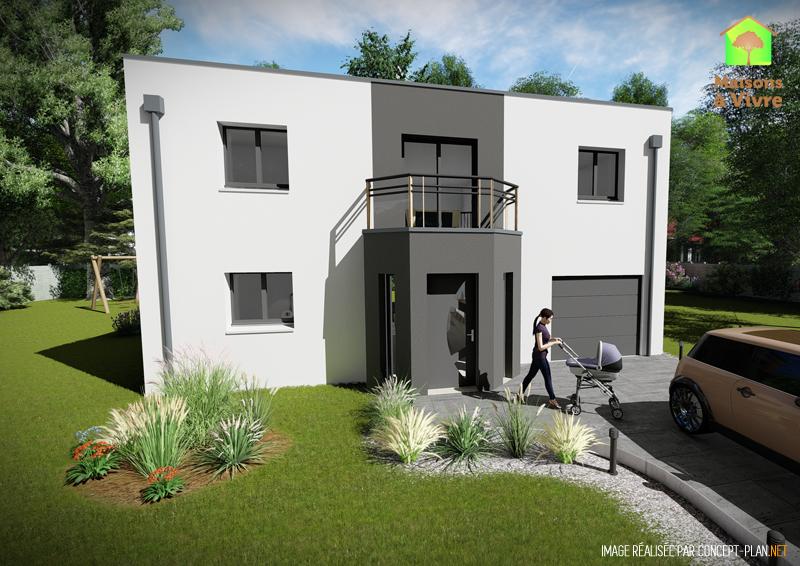 Modèle-de-maison-neuve-toit-plat-Aulne-Contemporain-vue-extérieure-de-face-Maisons-à-Vivre