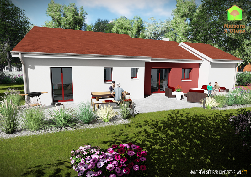 Modèle-de-maison-neuve-Glycine-Actuel-toit-rouge-vue-extérieure-arrière-Maisons-à-Vivre