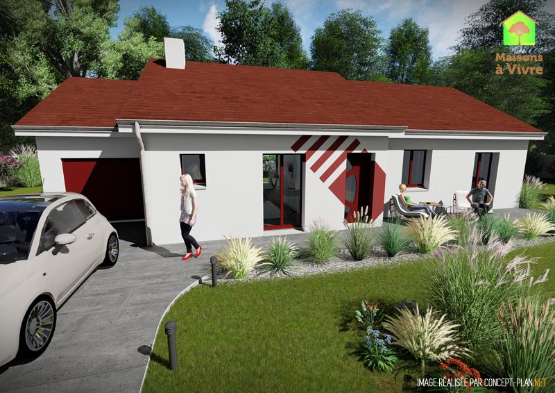 Modèle-de-maison-neuve-Glycine-Actuel-toit-rouge-vue-extérieure-de-face-Maisons-à-Vivre