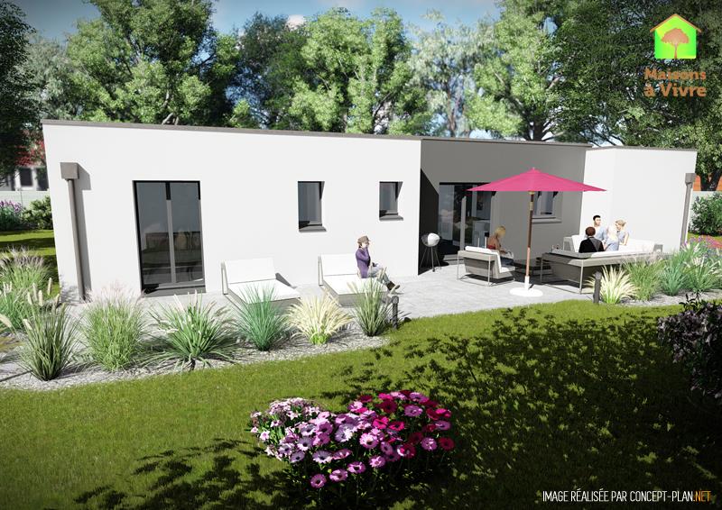 Vue-extérieure-arrière-maison-neuve-toit-plat-modèle-Glycine-Contemporain-Maisons-à-Vivre
