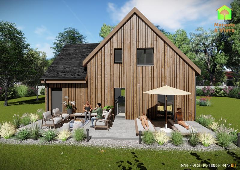 Vue-extérieure-arrière-maison-neuve-ossature-bois-modèle-Camelia-Maisons-à-Vivre