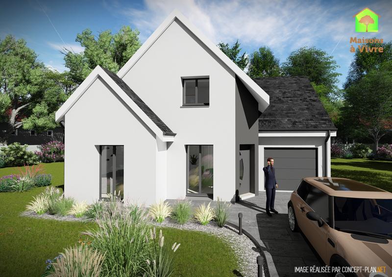 Modèle-de-maison-neuve-Amarante-Actuel-toit-gris-vue-extérieure-de-face-Maisons-à-Vivre