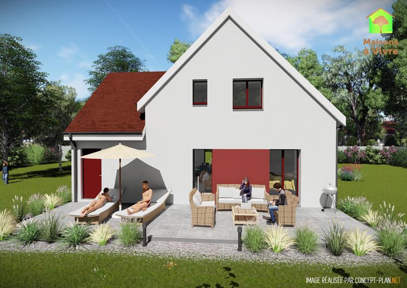 Modèle-de-maison-neuve-Amarante-Actuel-toit-rouge-vue-extérieure-arrière-Maisons-à-Vivre