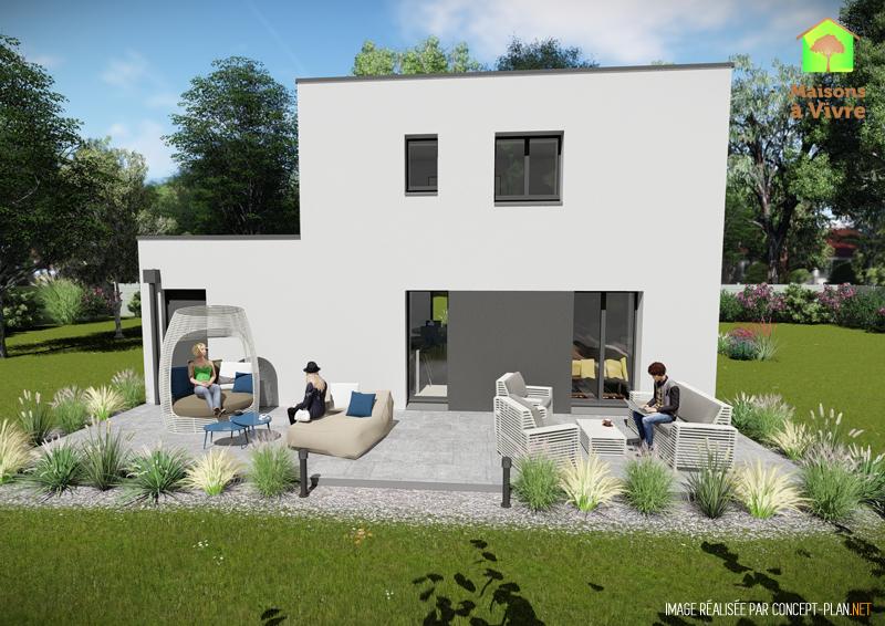 Modèle-de-maison-neuve-toit-plat-Camelia-Contemporain-vue-extérieure-arrière-Maisons-à-Vivre