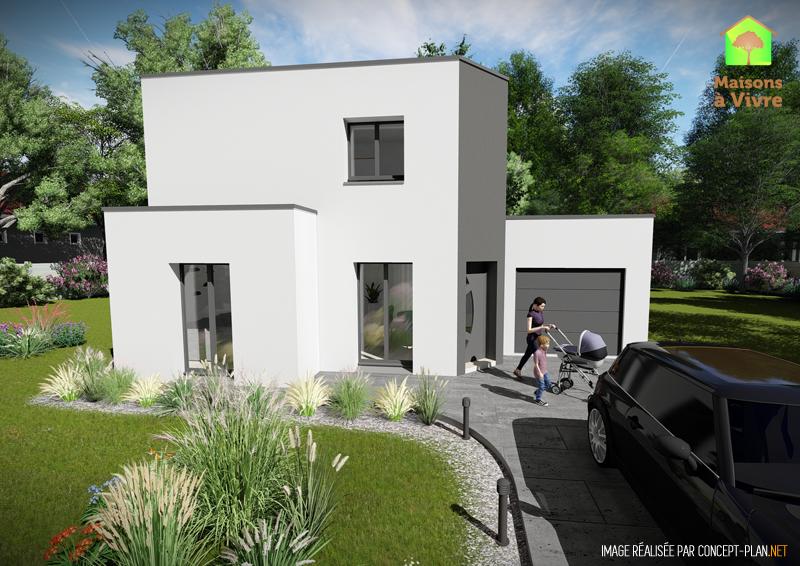 Modèle-de-maison-neuve-toit-plat-Camelia-Contemporain-vue-extérieure-de-face-Maisons-à-Vivre