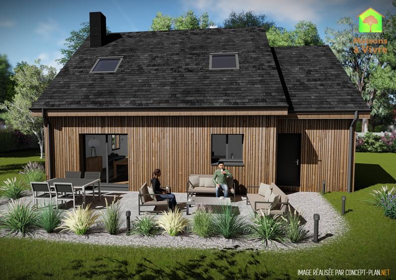 Vue-extérieure-arrière-maison-neuve-ossature-bois-modèle-Charme-Maisons-à-Vivre