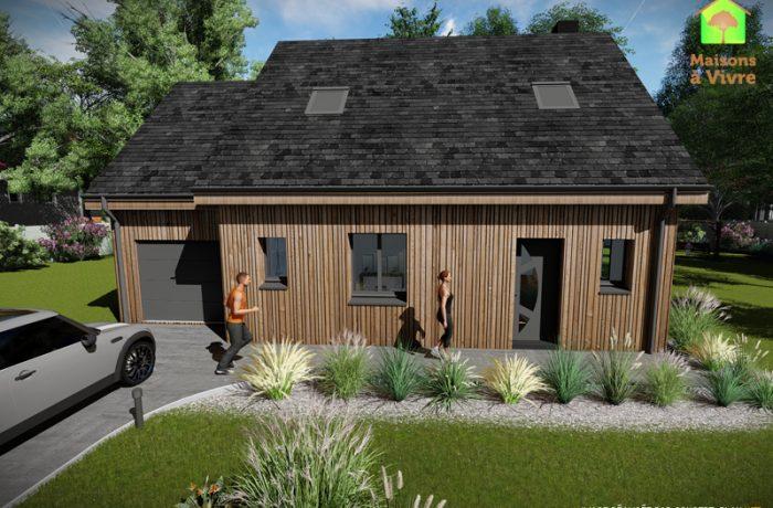 Modèle-de-maison-neuve-ossature-bois-Charme-vue-extérieure-de-face-Maisons-à-Vivre