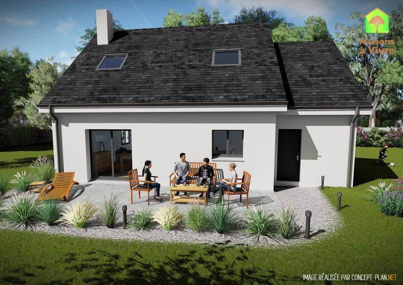 Modèle-de-maison-neuve-Charme-Actuel-toit-gris-vue-extérieure-arrière-Maisons-à-Vivre