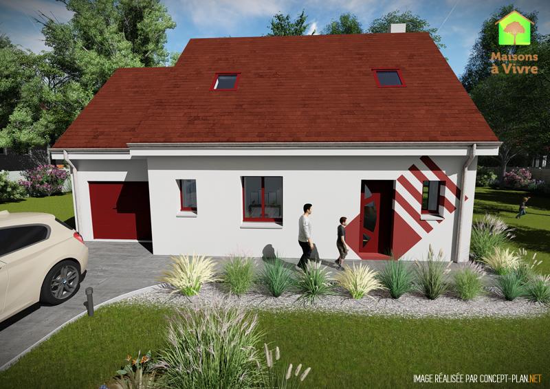 Modèle-de-maison-neuve-Charme-Actuel-toit-rouge-vue-extérieure-de-face-Maisons-à-Vivre