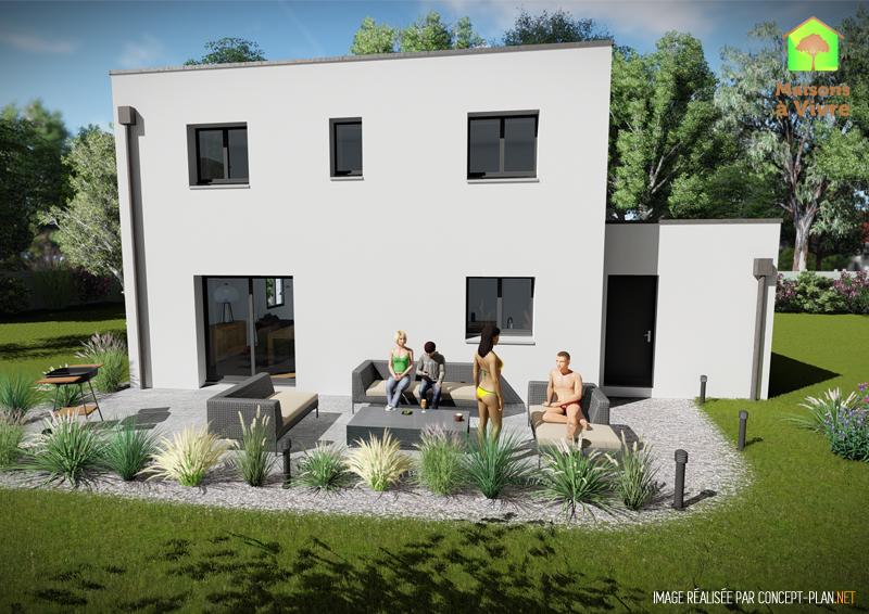 Modèle-de-maison-neuve-toit-plat-Charme-Contemporain-vue-extérieure-arrière-Maisons-à-Vivre