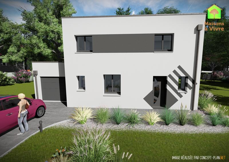 Modèle-de-maison-neuve-toit-plat-Charme-Contemporain-vue-extérieure-de-face-Maisons-à-Vivre