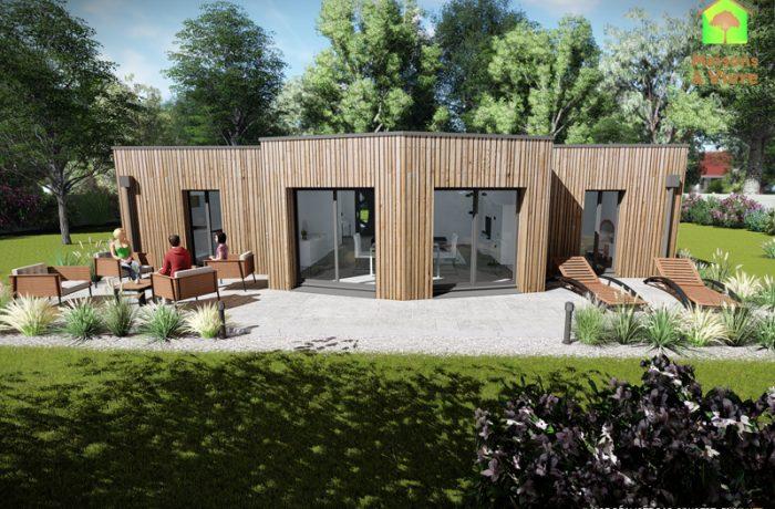 Vue-extérieure-arrière-maison-neuve-ossature-bois-toit-plat-modèle-Évolution-Maisons-à-Vivre