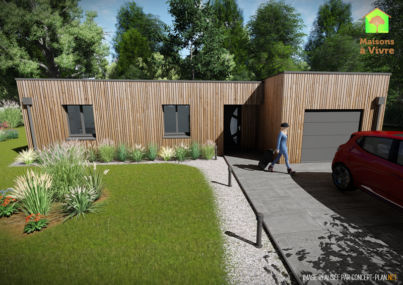 Modèle-de-maison-neuve-ossature-bois-toit-plat-Évolution-Maisons-à-Vivre