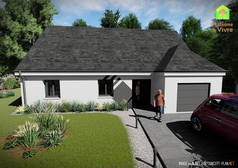Modèle-de-maison-neuve-Evolution-Actuel-toit-gris-vue-extérieure-de-face-Maisons-à-Vivre