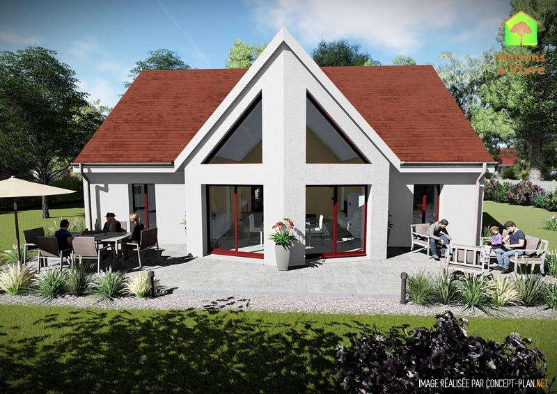 Modèle-de-maison-neuve-Evolution-Actuel-toit-rouge-vue-extérieure-arrière-Maisons-à-Vivre