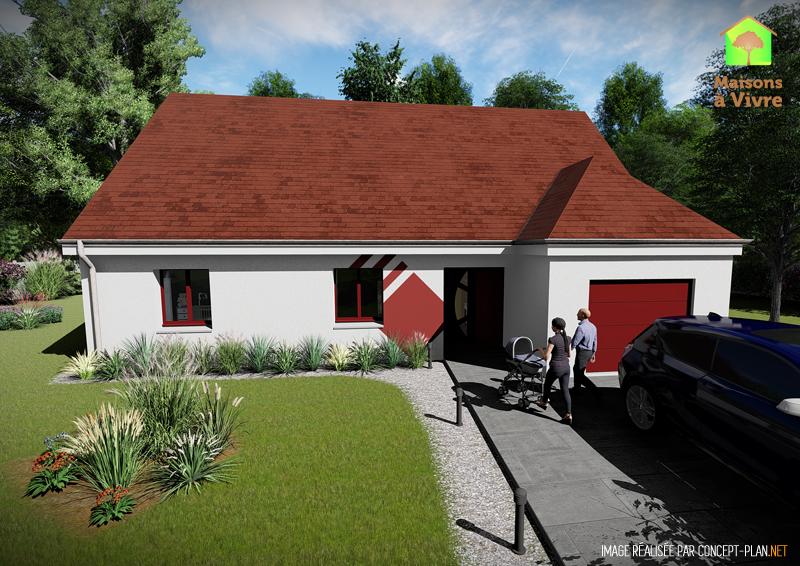 Modèle-de-maison-neuve-Evolution-Actuel-toit-rouge-vue-extérieure-de-face-Maisons-à-Vivre