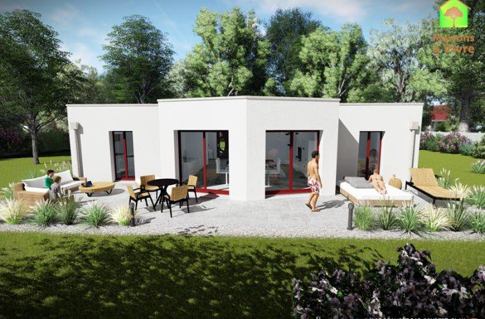 Vue-extérieure-arrière-maison-neuve-toit-plat-modèle-Évolution-Contemporain-Maisons-à-Vivre
