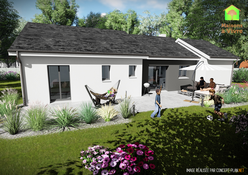 Modèle-de-maison-neuve-Glycine-Actuel-toit-gris-vue-extérieure-arrière-Maisons-à-Vivre