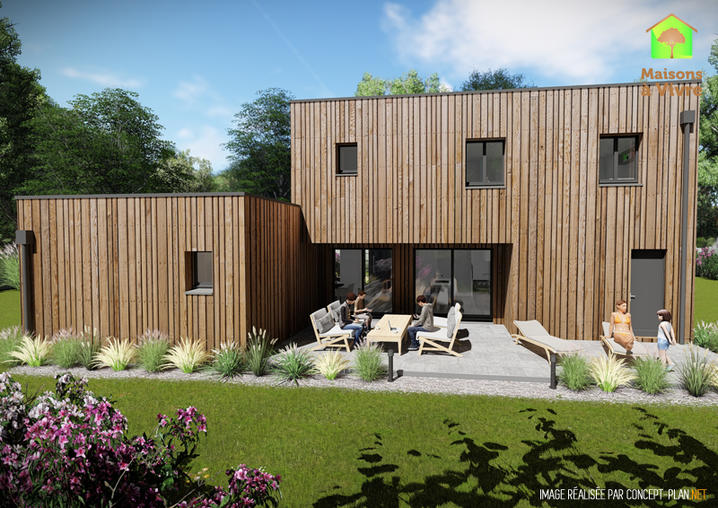 Vue-extérieure-arrière-maison-neuve-ossature-bois-toit-plat-modèle-Horizon-Maisons-à-Vivre