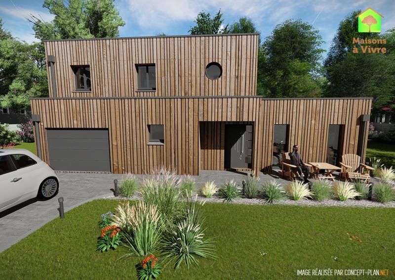 Modèle-de-maison-neuve-ossature-bois-toit-plat-Horizon-vue-extérieure-de-face-Maisons-à-Vivre