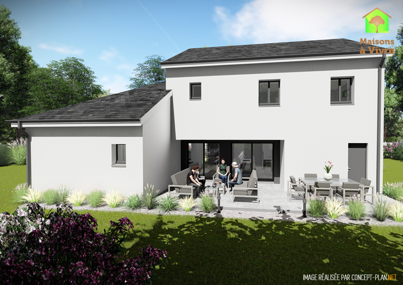 Modèle-de-maison-neuve-Horizon-Actuel-toit-gris-vue-extérieure-arrière-Maisons-à-Vivre