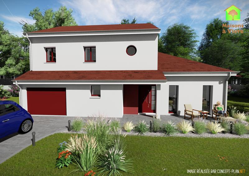 Modèle-de-maison-neuve-Horizon-Actuel-toit-rouge-vue-extérieure-de-face-Maisons-à-Vivre
