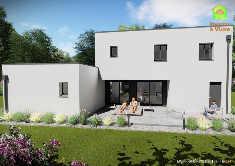 Modèle-de-maison-neuve-toit-plat-Horizon-Contemporain-vue-extérieure-arrière-Maisons-à-Vivre