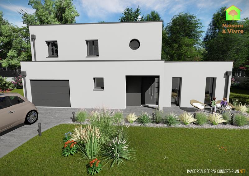 Modèle-de-maison-neuve-toit-plat-Horizon-Contemporain-vue-extérieure-de-face-Maisons-à-Vivre