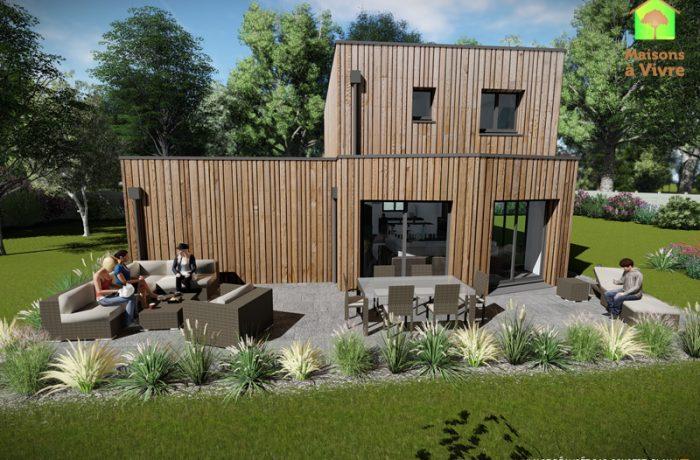 Vue-extérieure-arrière-maison-neuve-ossature-bois-toit-plat-modèle-Lilas-Maisons-à-Vivre