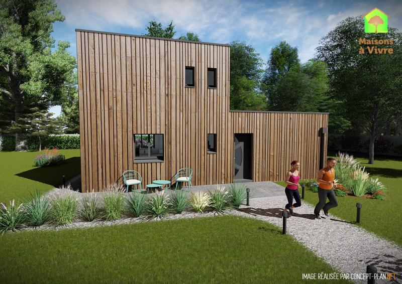 Modèle-de-maison-neuve-ossature-bois-toit-plat-Lilas-vue-extérieure-de-face-Maisons-à-Vivre