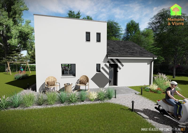 Modèle-de-maison-neuve-Lilas-Actuel-toit-gris-vue-extérieure-de-face-Maisons-à-Vivre