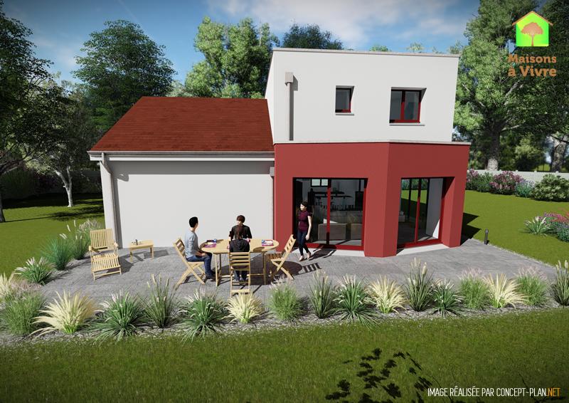 Modèle-de-maison-neuve-Lilas-Actuel-toit-rouge-vue-extérieure-arrière-Maisons-à-Vivre