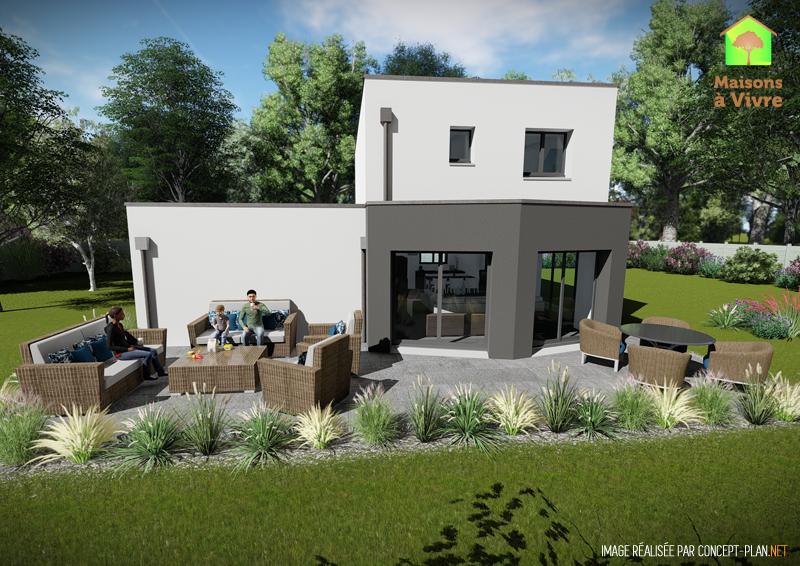 Modèle-de-maison-neuve-toit-plat-Lilas-Contemporain-vue-extérieure-arrière-Maisons-à-Vivre
