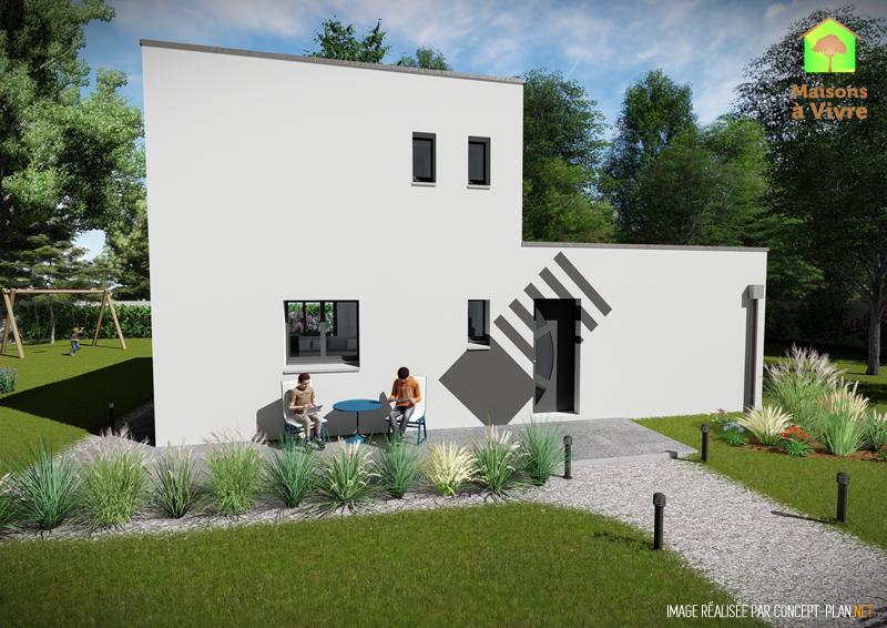 Modèle-de-maison-neuve-toit-plat-Lilas-Contemporain-vue-extérieure-de-face-Maisons-à-Vivre