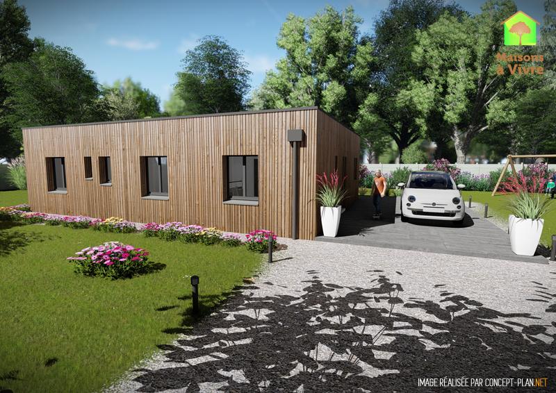 Vue-extérieure-arrière-maison-neuve-ossature-bois-toit-plat-modèle-Orme-Maisons-à-Vivre