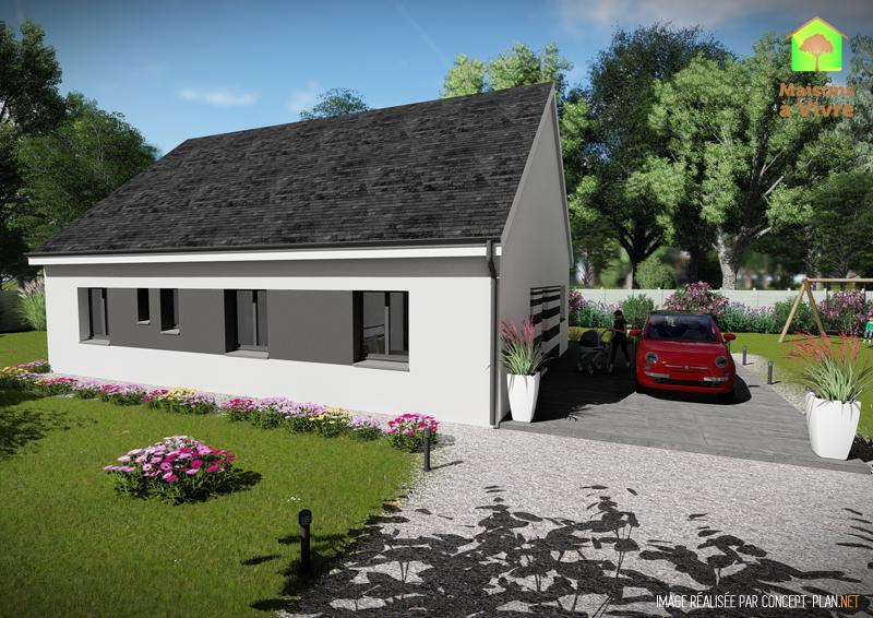 Modèle-de-maison-neuve-Orme-toit-gris-vue-extérieure-arrière-Maisons-à-Vivre