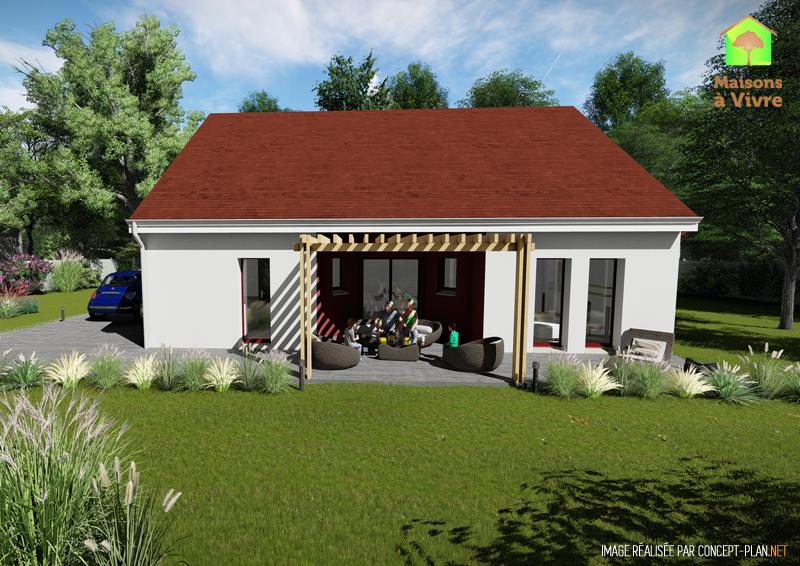 Modèle-de-maison-neuve-Orme-Actuel-toit-rouge-vue-extérieure-de-face-Maisons-à-Vivre