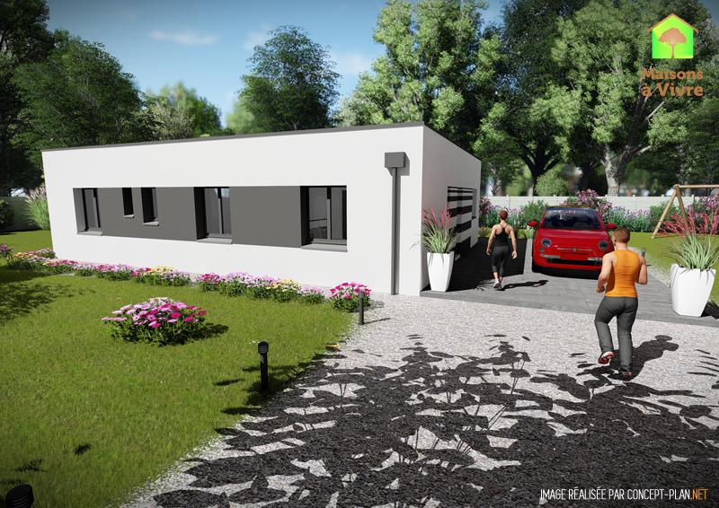 Vue-extérieure-arrière-maison-neuve-toit-plat-modèle-Orme-Contemporain-Maisons-à-Vivre
