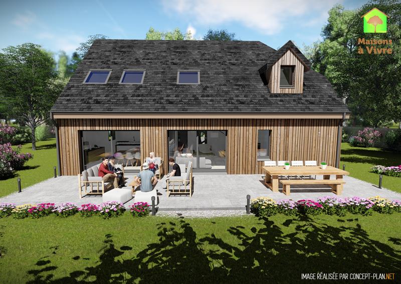Vue-extérieure-arrière-maison-neuve-ossature-bois-modèle-Panorama-Maisons-à-Vivre
